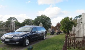 Funeral at cemetery
